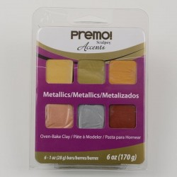 Premo Sculpey Accents Kit de 6 Pastillas Metalizados PEMPM-6