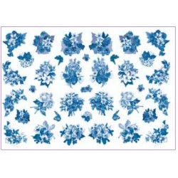 Papel Arroz dec.196 Fiore Blu 50x35cm.