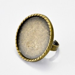 Anillo Ajustable Base Redonda Bronce - Cordon 20mm
