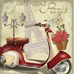 Papel de Sublimacion 30 x 30cm - Paris en Vespa