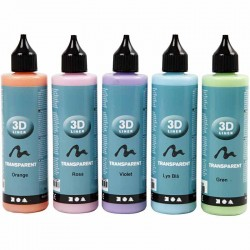 Pack de 5 Colores Pintura 3D Transparente