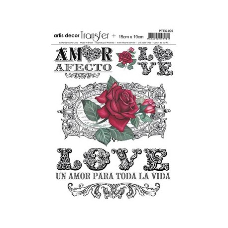 Papel Transfer 15x19 cm - Rosas Love