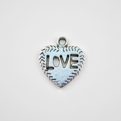 Dije Corazon Love 20x18mm x 5 unidades